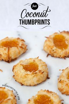 Buttery shortbread cookies rolled in sweetened coconut ad filled with pineapple-apricot preserves---so super good!