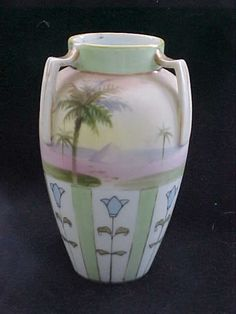 Nippon Egyptian Revival Urn-shaped Vase from early 20th Century from bluebonnethillantiques on Ruby Lane