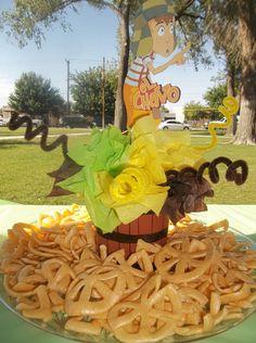 For My Sons 5th Birthday Party Del Chavo Del Ocho... The Centerpieces My Sister @Elizabeth Teran and Andrea Did with some Chicharrones y Salsa Valentina