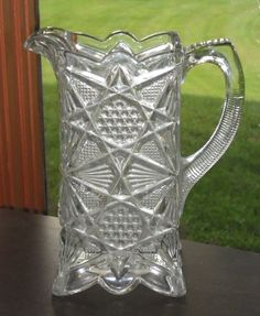 EAPG Antique Pattern Glass US GLASS 1897 ILLINOIS State Series Water Jug Pitcher  SOLD $123.51 (2015)