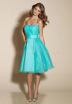 Strapless Pool Organza A-line Knee-Length Bridesmaid Dress