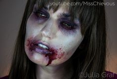Here are 12 incredibly creepy zombie makeup tutorials you can try to get into the zombie bandwagon this Halloween! These are veeery scary. Zombie Prom, Zombie Walk, Zombie Make Up, Zombie Crawl, Walking Dead Zombie Makeup, Zombie Girl Makeup, Pretty Zombie Makeup, Halloween Kostüm, Halloween Face Makeup
