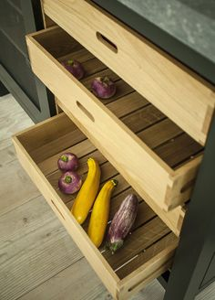 Soho Factory Loft Style Kitchen featuring Pull out Oak Trays by Plain English