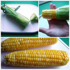 Microwave Corn on the Cob in the husk. It's the easiest way to enjoy fresh corn and you don't have to mess with any silk!