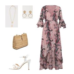 Summer Event Outfits with Wrap Maxi Dresses. Blush/ light pink floral print wrap maxi dress+white ankle strap heeled sandals+raffia chain bag/ raffia clutch+gold earrings+gold pendant necklace. Summer Semi Formal Daytime Event/ Wedding Guest Outfit 2018