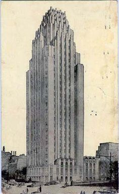 NY Architecture Images- Midtown-Manhattan-Landmark/ BEEKMAN Tower formerly the Panhellenic Tower /architect  John Mead Howells / 3 Mitchell Place/First Ave at East 49th St. date  1927-1928 /Art Deco /construction  28-storey orange brick tower rises as a simplified shaft with deep-set, brick-spandreled columns of windows./ The corners are chamfered and also have similar window openings. type  Apartment Building hotel