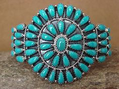 NAVAHO LARRY BEGAY TURQUOISE CLUSTER CUFF