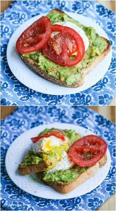 Smashed Avocado Toast with Tomato and Poached Egg // fast & easy breakfast, lunch, dinner or snack Smashed Avocado Tomato Toast and Poached Egg - this healthy breakfast is so quick and easy to make. I could eat this every day! Healthy Snacks, Healthy Eating, Healthy Recipes, Vegetarian Recipes, Smashed Avocado, Avocado Toast, Avocado Breakfast, Fried Avocado, Breakfast Toast