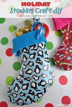 Holiday Stocking Crafty DIY with Duck Brand® Holiday Tape #DuckTheHalls - great tween craft idea and way for them to make gift for their friends.