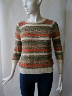 striped 3/4 sleeve textured sweater in coral by afterglowvintage, $28.00