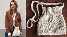 Macrame Patterns, Crochet Patterns, Macrame Bag, Macrame Design, Diy Sewing Projects, Crochet Designs, Needle And Thread, Purses And Bags, Diy And Crafts