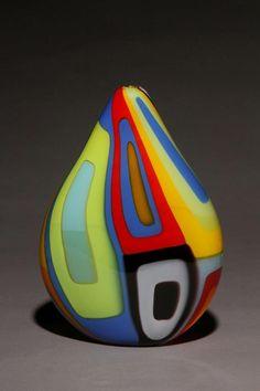Geometric Blown Glass Vase by James Wilbat