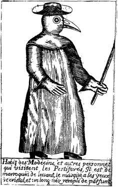 Mascara da Peste e ilustração da roupa utilizada pelos médicos na época da peste negra.