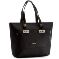 Torebka LIU JO - Shopping Orizzontal A17019 E0037 Black/Stone Gra W9027