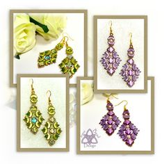 This is a tutorial pattern in PDF format. You are not purchasing the Chandani earrings with this listing. Arcos® par Puca® beads and Silky beads combine beautifully with crystal bicones and pearls to create these stunning diamond-shaped earrings. The earrings are 2 ¾ inches (7cm) in