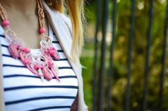 stripes, dusty pink, statement necklace