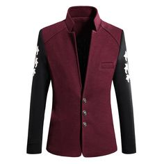 Sale 30% (45.27$) - Mens Woolen Stand Collar Casual Blazer Single-breasted Business Slim Fit Jacket Coat