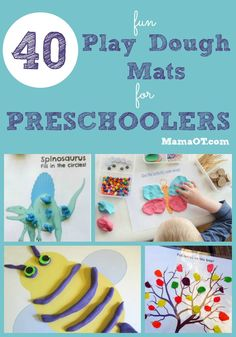 Browse through this collection of 40 themed play dough mats for preschool play and learning. Includes mats for every season. Great for fine motor, sensory processing, pretend play, pre-reading, and pre-math skills! #finemotor #pediOT #childdevelopment