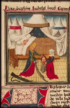 Judith puts the head of Holofernes into a sack, uncredited Century Tent, 13 Century Medieval Life, Medieval Art, Medieval Manuscript, Illuminated Manuscript, Judith And Holofernes, Late Middle Ages, Amazing Drawings, Bible Stories, 14th Century
