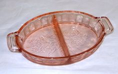 Depression Glass - Jeannette - Floral / Poinsettia - Pink Oval 2 Part Relish 8 1/4""