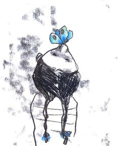 Original Monotype Drawing  Spring time black white  the by caid, $20.00