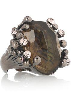 ROBERTO CAVALLI  Ruthenium-plated cocktail ring