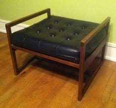 VGC VTG Foot Stool Bench Eames Era Mid Century Modern Wood Black Vinyl Nagahyde  | Antiques, Furniture, Benches & Stools | eBay!