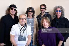 Musicians Thom Gimbel, Mick Jones, Kelly Hansen, Michael Bluestein, Jeff Pilson and Bruce Watson from the musical group Foreigner pose for a portrait in the WireImage Portrait Studio presented by DIRECTV during the 2017 Sundance Film Festival on January 20, 2017 in Park City, Utah.