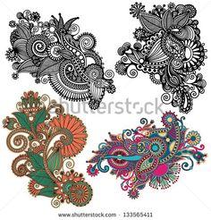 original hand draw line art ornate flower design. Ukrainian traditional style. Vector set - stock vector