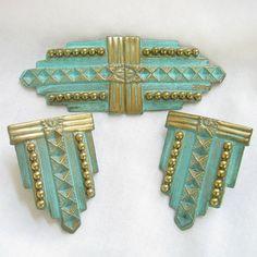 Vintage Retro Art Deco style Teal Green Brooch by MyVintageJewels, $26.00