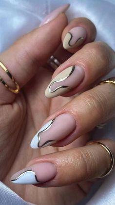 Almond Shape Nails, Almond Acrylic Nails, Best Acrylic Nails, Best Nails, Classy Almond Nails, Almond Nail Art, Stylish Nails, Trendy Nails, Chic Nails