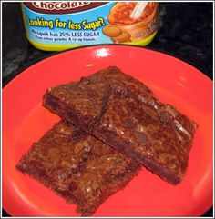 Chocolate Milk Brownies    2 c sugar  2 c flour  1 1/2 c chocolate Nesquik  4 eggs  1 c butter, softened  1/2 tsp salt  1 tsp vanilla  1/4-1/2 c. milk chocolate chips  Preheat oven to 350 degrees. Combine butter and sugar until fluffy. Add eggs, vanilla and salt, mix until combined. Add flour and chocolate Nequik, stir just until combined. Spread into a 9x13 greased pan, sprinkle with chocolate chips. Bake for 30 minutes (this recipe can be halved and put into an 8x8)