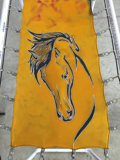 Equine Hand Painted Silk Scarf - SilksbyTonya.com