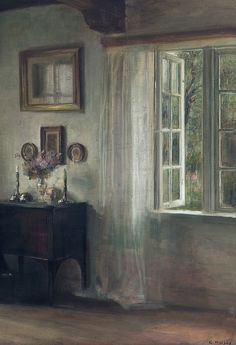 Interior with woman reading, Carl Vilhelm Holsøe