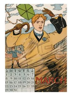 vintage calendar~ Windy March