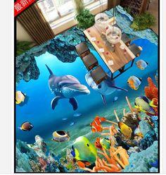 Painting Supplies & Wall Treatments Free Shipping 3d Pond Nine Fish Figure Koi Carp Park Tree Grass Landscape Flooring Sticker Wallpaper Mural To Have A Unique National Style