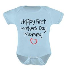 Mother's Day Gift Idea Happy First Mothers Day Mommy Bodysuit Baby Onesie 6 - 12 months Aqua