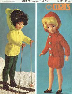 Vintage knitting pattern for 14 inch doll- yarn, ski suit and skirt suit. Barbie Knitting Patterns, Barbie Patterns, Doll Clothes Patterns, Crochet Patterns, Paper Clothes, Clothes Crafts, Barbie Clothes, Barbie Stuff, Sindy Doll