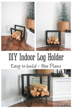 DIY Modern Farmhouse Indoor Firewood Holder