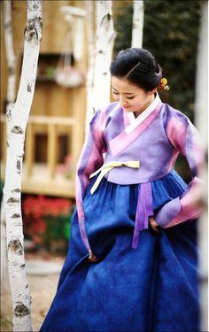Modern #Hanbok, traditional Korean dress with purple pink #jeorgori & blue #chima