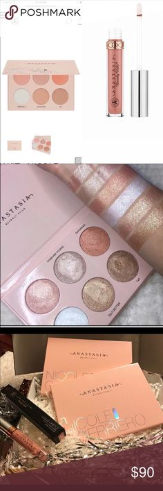 "🌟💋🙌Anastasia Bundle!! 🙌💋🌟 Brand New & Authentic!! 💯💯 LIMITED EDITION Glow palette designed in partnership with Nicole Guerriero and Liquid Lipstick in ""Pure Hollywood"" 🙌🙌 SOLD OUT almost everywhere!! All I can say is this is by far the BEST Glow Kit ever made!! 😍😍Perfect for all skin tones!! This bad boy is packed with pigment!! 🌟🌟 Pure Hollywood is their #1 selling color Lippie! 💋 What an amazing bundle! FULL size gifts with this bundle!! 🎉🎉🎉 Top rated seller!! 😘😘 Rude…"