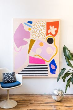 Ashley Mary Art – Abstract Colorful Shape Art - Sites new Abstract Shapes, Abstract Wall Art, Geometric Art, Painting Inspiration, Art Inspo, Palette Pastel, Bright Art, Bright Abstract Art, Shape Art
