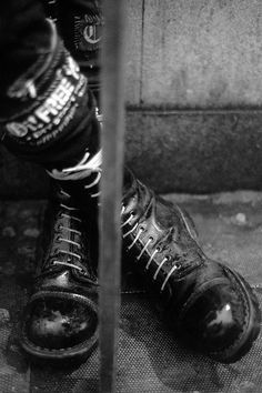 punk boots   punk fashion   docs   black & white   rebel   anarchist (potential for what we wear down below)