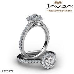 Halo Diamond Engagement Ring With Sidestone Round Diamonds, Natural Diamonds, Heart Promise Rings, Round Diamond Engagement Rings, Halo Rings, True Love, 18k Gold, Nyc Girl, White Gold