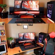 Gaming Desk Setup, Best Gaming Setup, Computer Setup, Pc Setup, Room Setup, Computer Case, Gaming Computer, Minimal Office, Computer Station