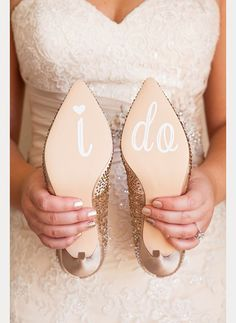 """DIY """"I Do"""" shoe decals for your wedding shoes!  ~  we ❤ this! moncheribridals.com"""