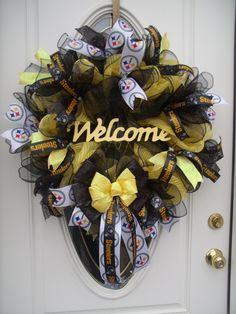 Pittsburgh Steelers Welcome Mesh Wreath Football Decor Door Decor Handmade by MeshWreathsnMore on Etsy