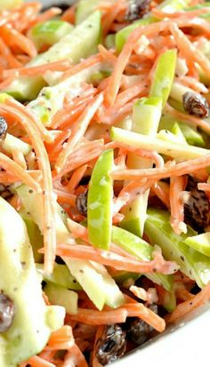 Carrot and Apple Slaw is a bright and flavorful dish to serve with your spring or summer dishes. Slaw Recipes, Veggie Recipes, Cooking Recipes, Healthy Recipes, Carrot Salad Recipes, Carrot Slaw, Apple Slaw, Apple Coleslaw, Carrot And Raisin Salad
