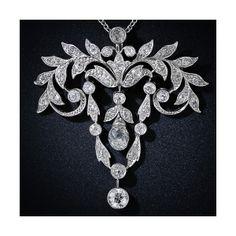 File:Briolette Cut Diamond Edwardian Pendant.jpg - Antique Jewelry University found on Polyvore