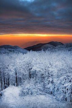 Puesta de sol de invierno.